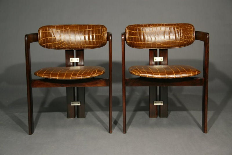 Pair Of Leather And Exotic Wood Pamplona Chairs Augusto Savini At 1stdibs