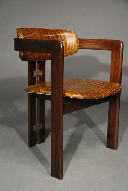 Pair of leather and exotic wood pamplona chairs augusto