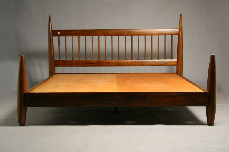 King size exotic wood bed frame by sergio rodrigues at 1stdibs for Wood bed frames for king size beds