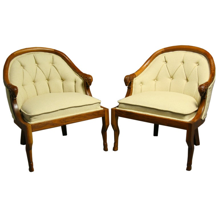 Pair Of Carved Wood Ram S Head Arm Chairs By Monteverdi