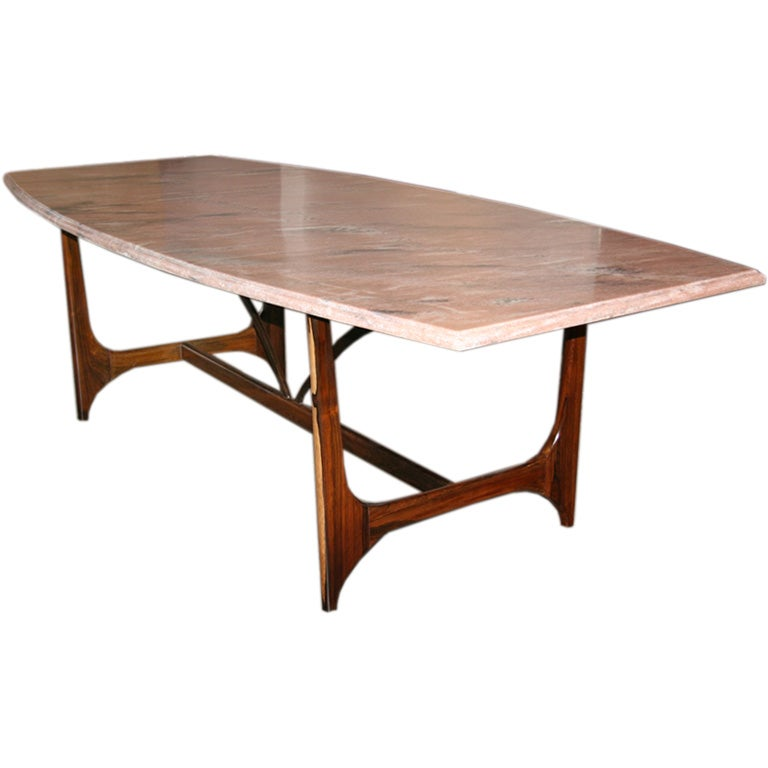 Solid Rosewood Brazilian dining table with a granite top  : curvedpinkmarblerosewoodbasediningtable1 from www.1stdibs.com size 768 x 768 jpeg 33kB