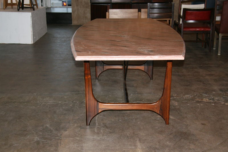 solid rosewood brazilian dining table with a granite top at 1stdibs