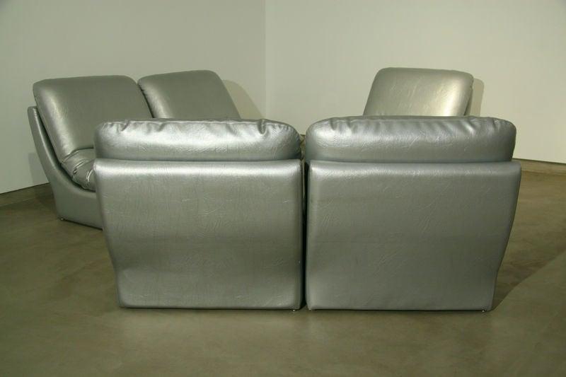 Modular Silver Leather Sofa Set By Vladimir Kagan At 1stdibs