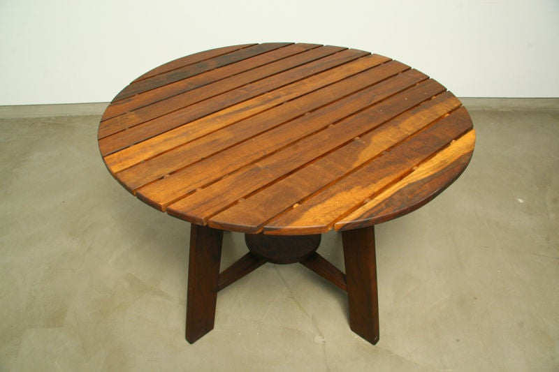 exotic wood round outdoor dining table by sergio rodrigues for sale at
