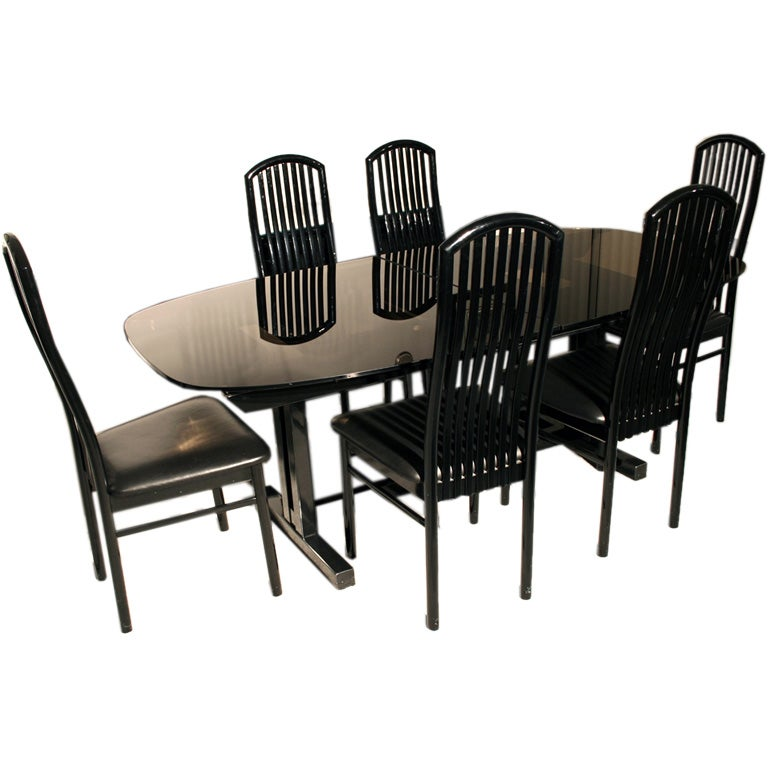 Roche bobois smoke glass table with 6 chairs at 1stdibs - Roche bobois chaises ...