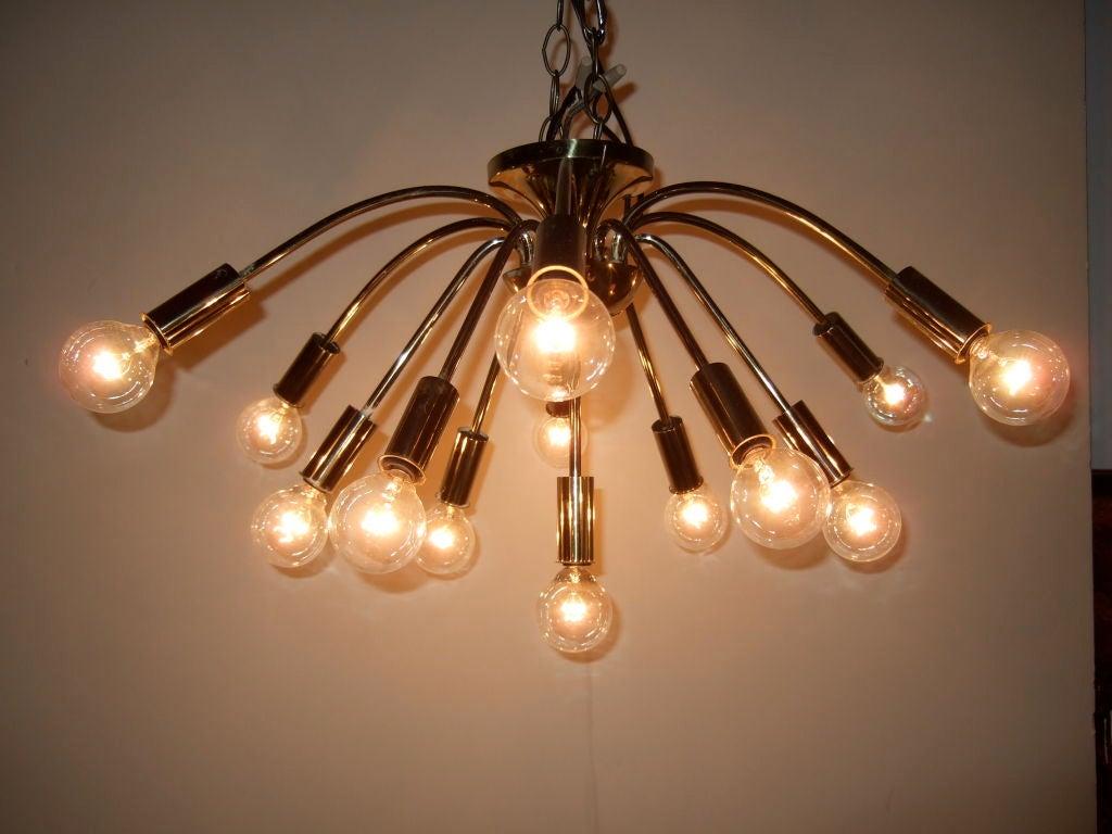 Mid century brass sputnik chandelier at 1stdibs for Sputnik chandelier
