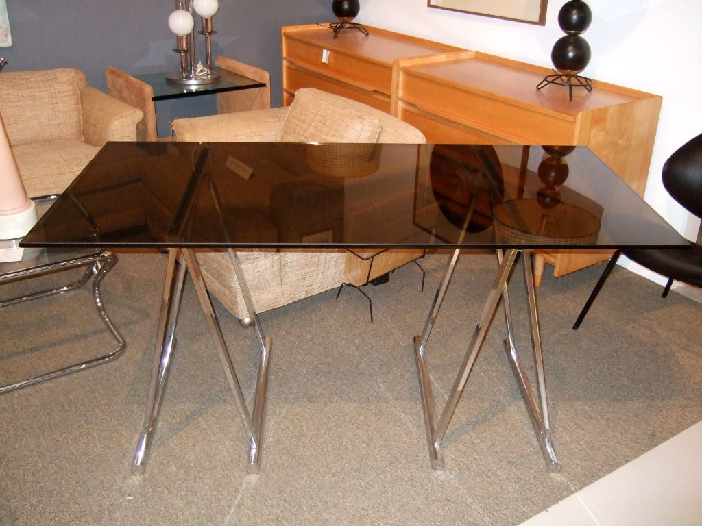 American Chrome And Glass Sawhorse Desk For