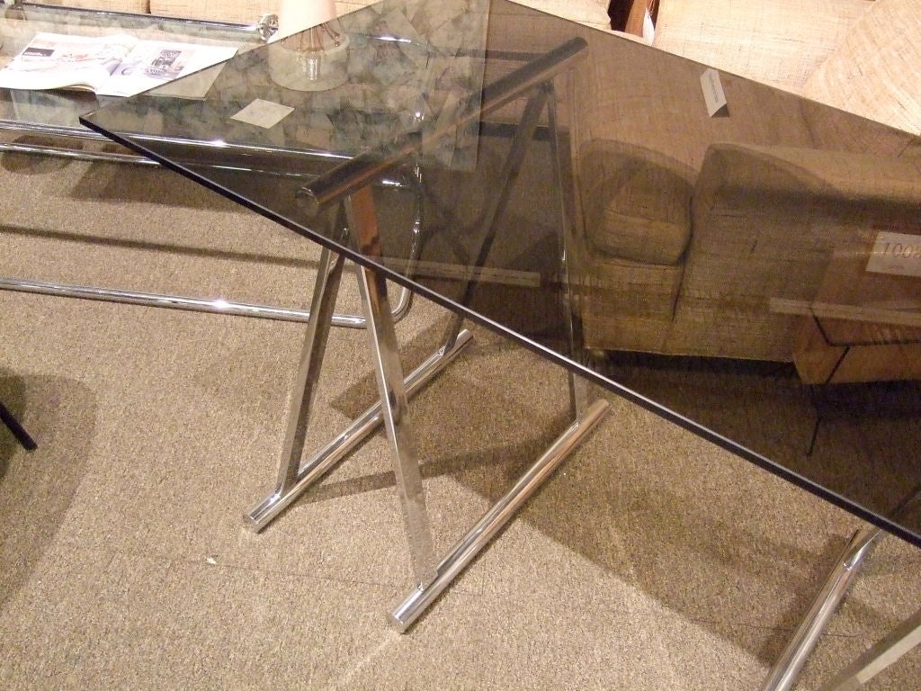Steel Chrome And Glass Sawhorse Desk For