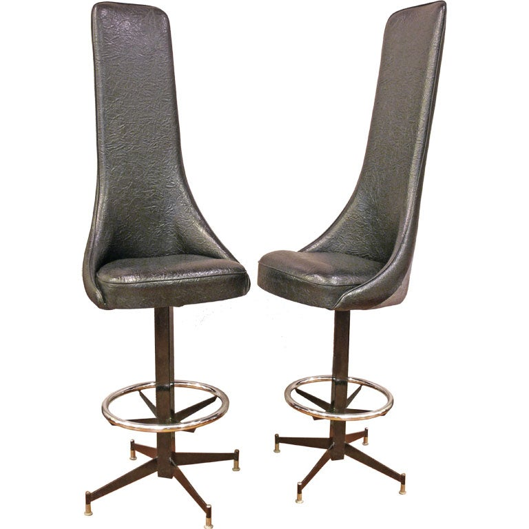 Ultra High Back Bar Stools At 1stdibs