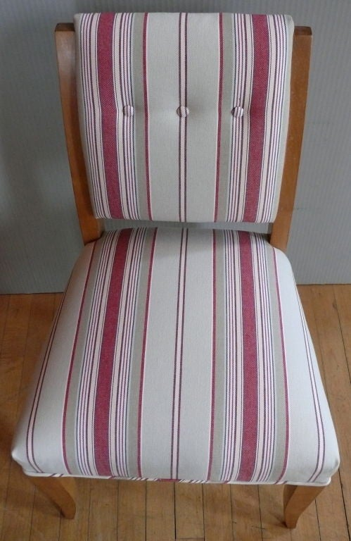 Pair Of French Stripe Accent Chairs At 1stdibs