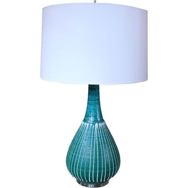 Large turquoise ceramic and lucite lamp at 1stdibs