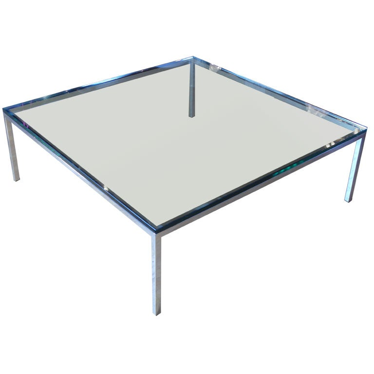 48 Square Chrome Coffee Table At 1stdibs