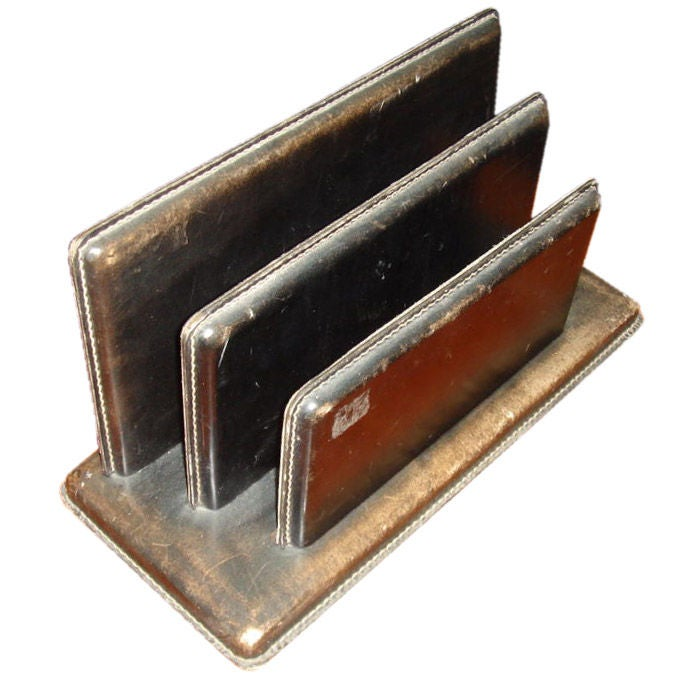 Leather Letter Holder in the manner of Jacques Adnet