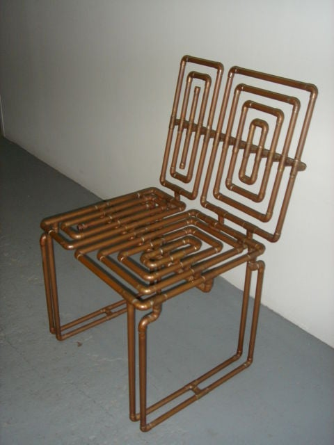 Sculpture Chair In Copper Pipe By T J Volonis For Sale At