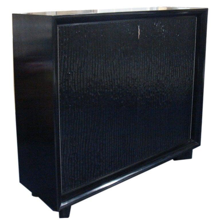 Impressive Custom Gouged Oak Cabinet