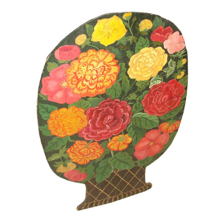 Umbrella Stand with a Hand-Painted Panel of a Bouquet of Flowers