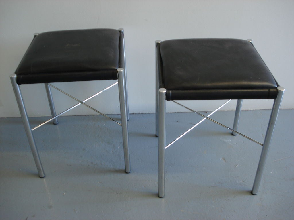 A Pair Of Chrome X Base Stools By Bon Marche At 1stdibs