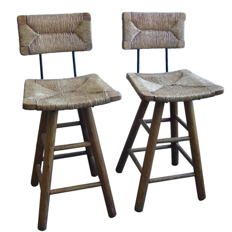 A Pair Of Barstools In The Manner Of Charlotte Perriand At