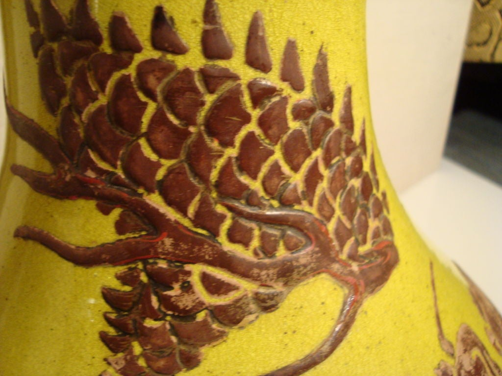 A Very Large Yellow Dragon Vase For Sale At 1stdibs