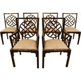 Unique Set of Six Dining Chairs in Horn Patchwork Veneer