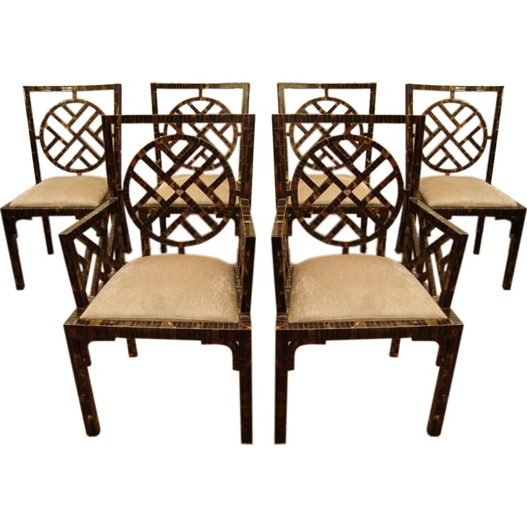 Unique Set Of 6 Dining Chairs In Horn Patchwork Veneer At
