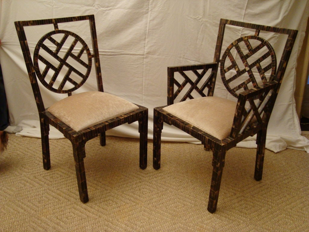 Unique set of 6 dining chairs in horn patchwork veneer at for Unique dining set furniture