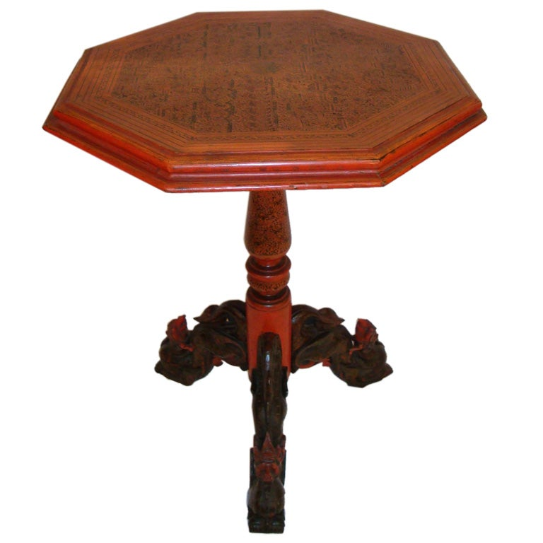 Very Fine Balinese Pedestal Table For Sale