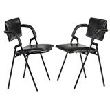 Pair of Leather Chairs by Jacques Adnet