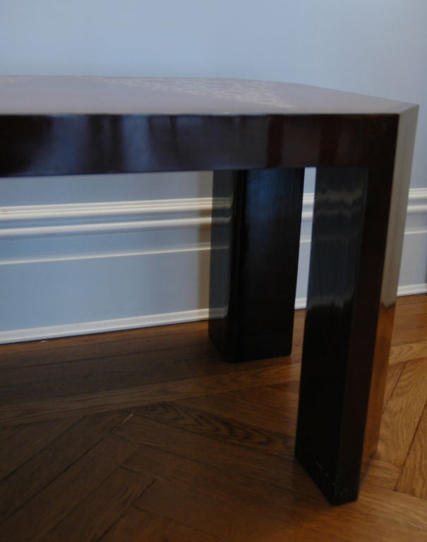 French Art Deco Eggshell Lacquer Side Table For Sale