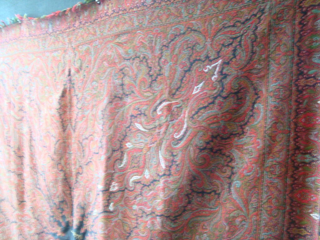 19th Century Antique Kashmir Wool Paisley Shawl For Sale