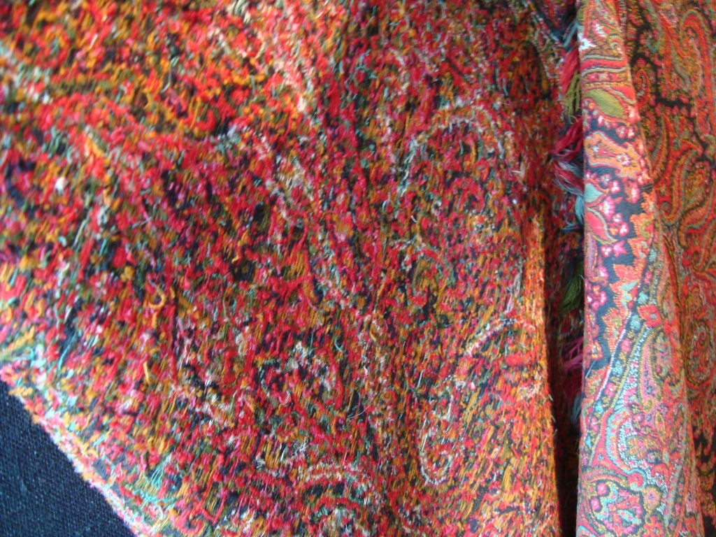Antique Kashmir Wool Paisley Shawl For Sale 2
