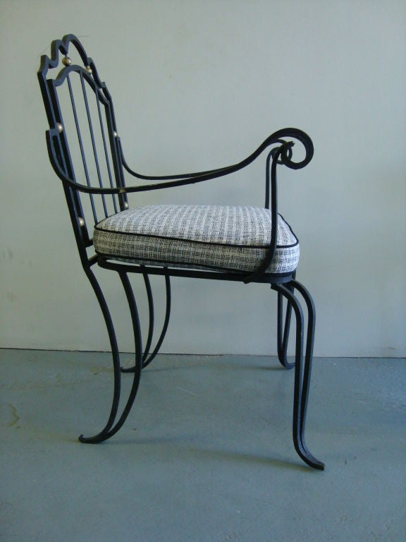 Pair of wrought iron arm chairs for sale at stdibs