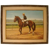 Oil on Canvas of a Jockey on Horse by FISK