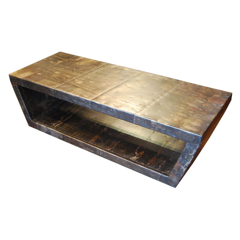 Custom Metal Clad Coffee Table At 1stdibs
