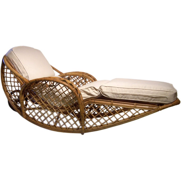 Fine and rare rattan chaise lounge at 1stdibs for Black friday chaise longue