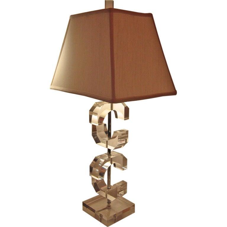 Elegant Acrylic Table Lamp By Marlu At 1stdibs