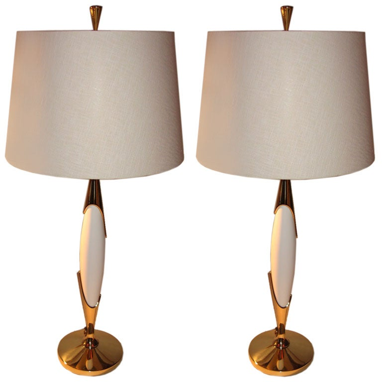 Pair Mid Century Modern Rembrandt Table Lamps At 1stdibs