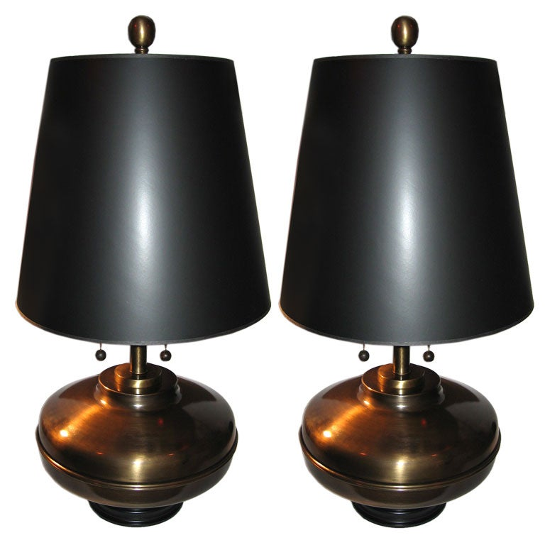 Pair Of Brasstable Lamps Labeled Springer At 1stdibs