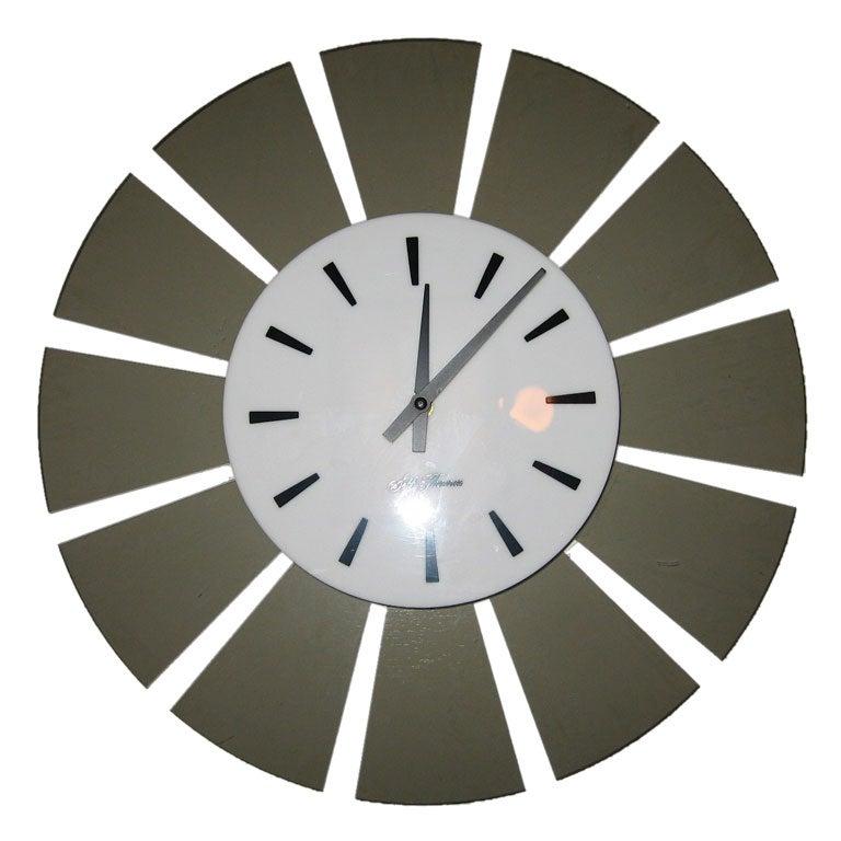 mid century modern acrylic seth thomas wall clock at 1stdibs