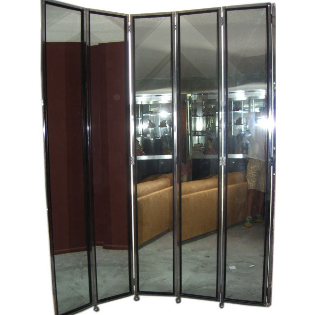 Pair Of Mirrored Screens Room Divider 10 Panels At 1stdibs