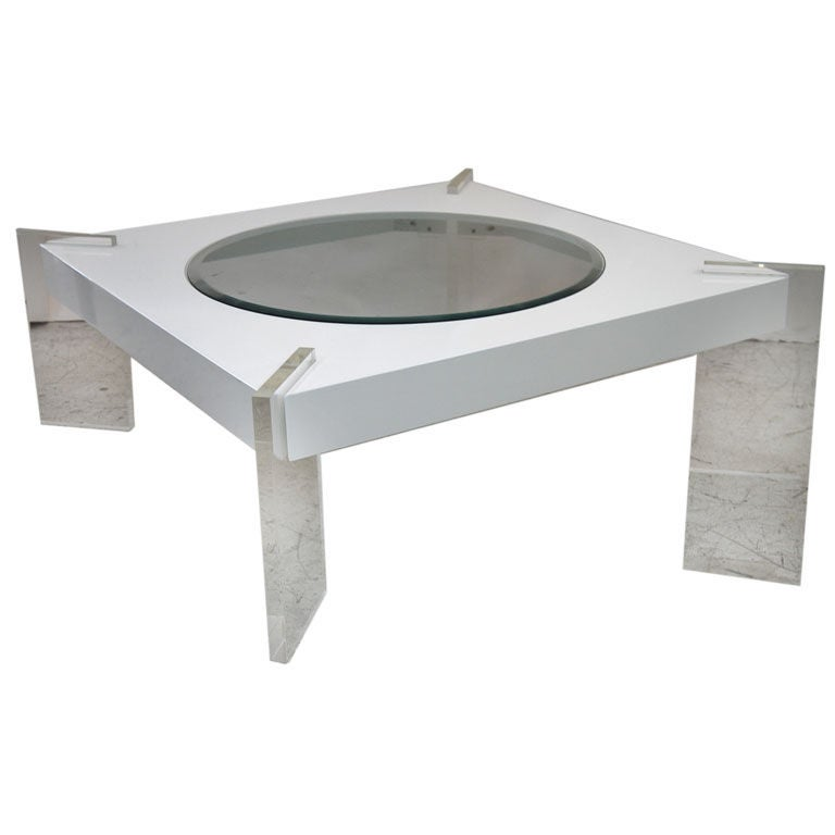 42 square coffee table with clear lucite legs at 1stdibs Acrylic clear coffee table