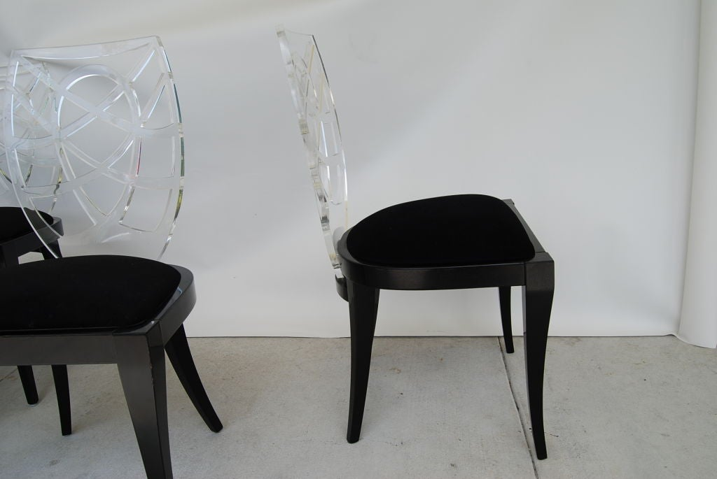 CHIC SET OF LUCITE AND WOOD ITALIAN DINING CHAIRS At 1stdibs