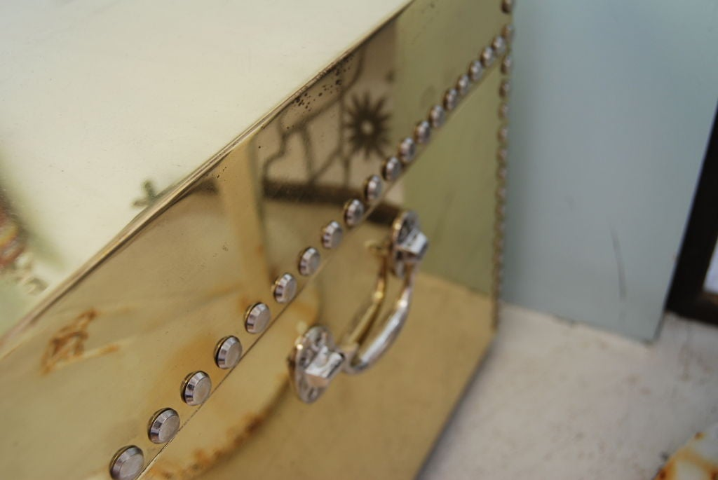 Wonderful studded brass and nickeled campaign chest coffee for Coffee table with studs