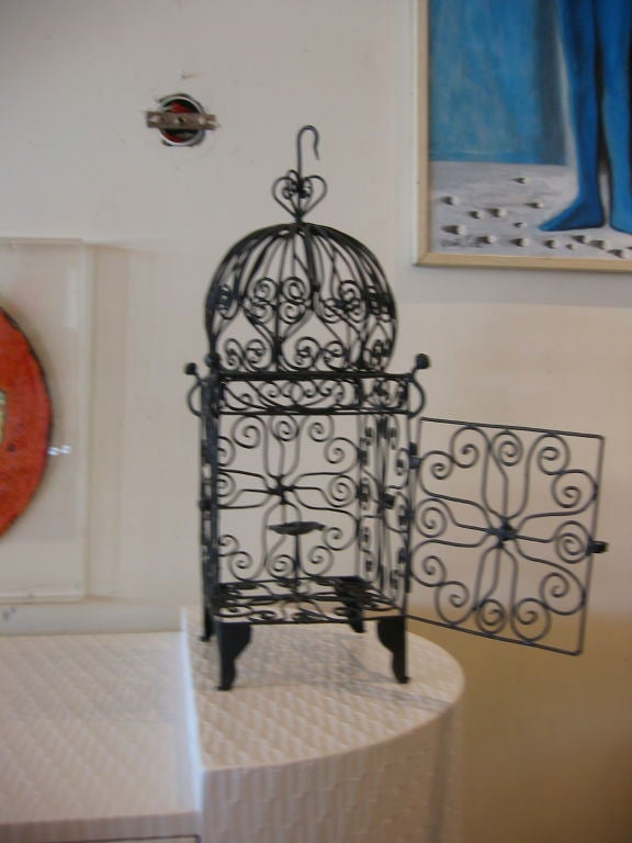Iron Hanging Candle Lantern In Good Condition For Sale In North Miami, FL