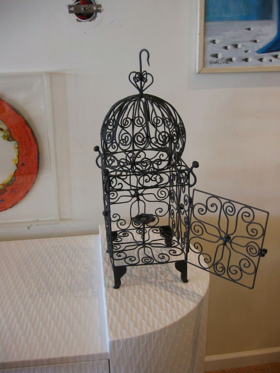 20th Century Iron Hanging Candle Lantern For Sale