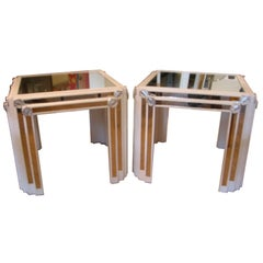 Pair of White Lacquered and Silver Leaf Mirrored End Or Side Tables Vintage