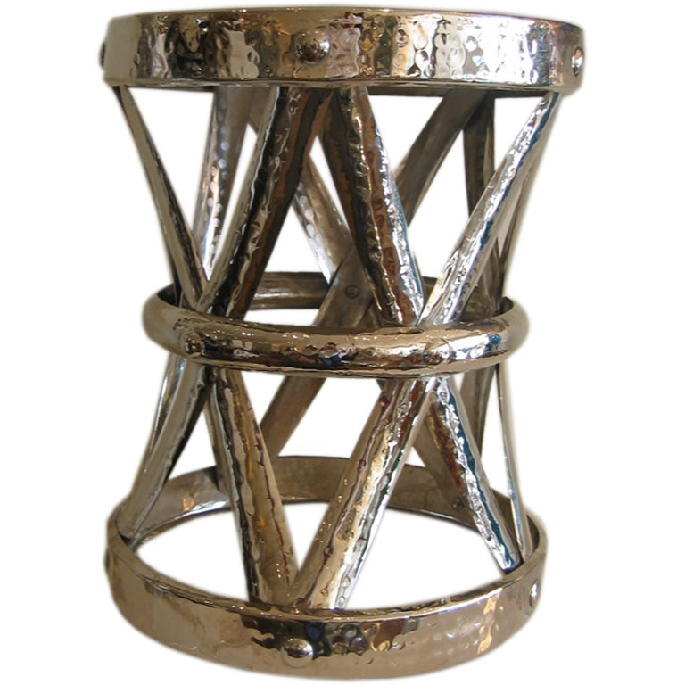 hammered nickel silver garden stool at 1stdibs