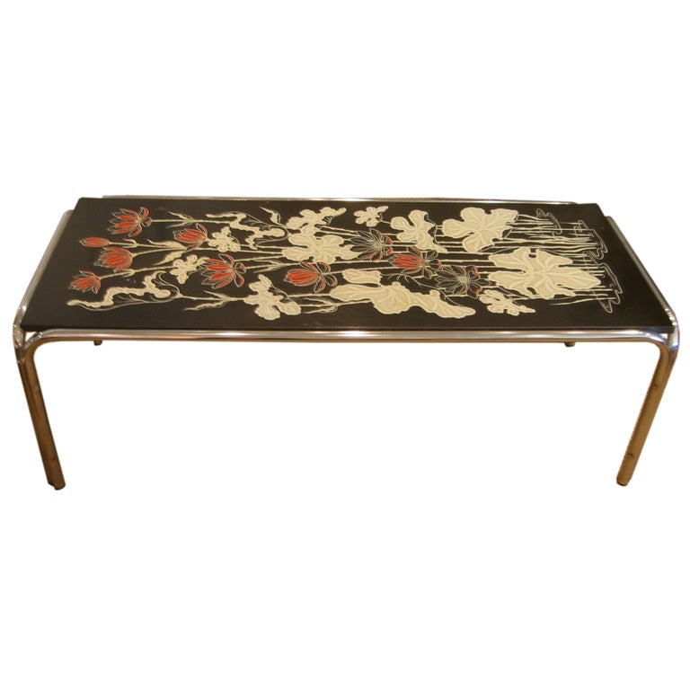 Floral top cocktail table with chrome base for sale at 1stdibs for Cocktail tables for sale used