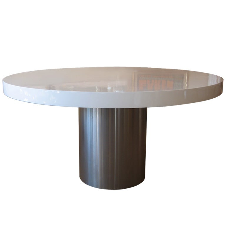 Custom Stainless Steel and Lacquered Dining Table at 1stdibs : img2663 from www.1stdibs.com size 768 x 768 jpeg 21kB