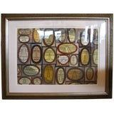 Mid-Century Modern Cubist Horizontal Watercolor by William Henry Custom Framed